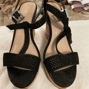 Black Suede and Cork Wedges
